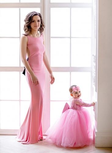 Lace Tulle Mother And Kids Dress Prom Dress