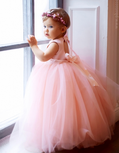 Pink Satin Tulle Flower Girl Dress Party Dress