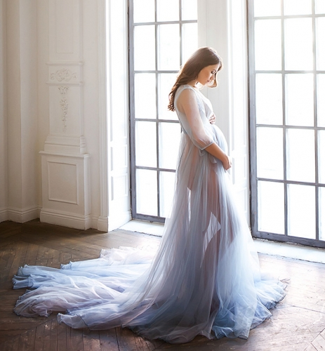 Light Blue Tulle Maternity Sexy Prom Dress Pregnant Dress