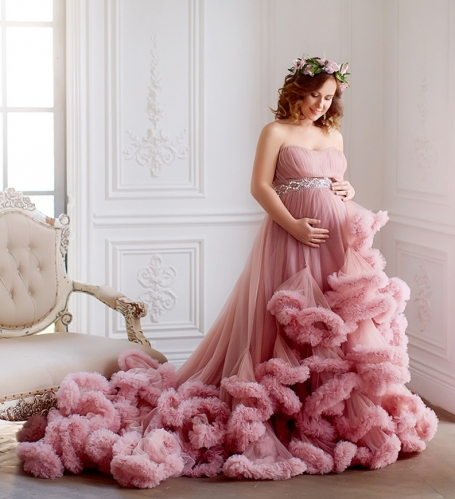Mauve Lace Tulle Maternity Sexy Prom Dress Pregnant Dress
