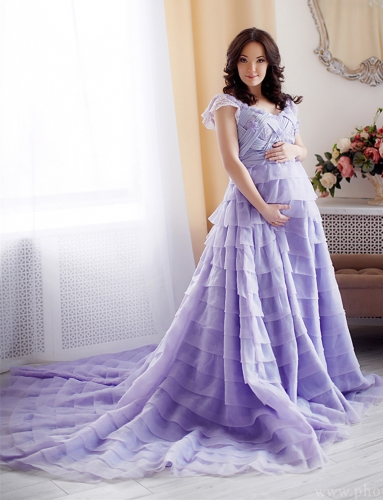 Lavender Tulle Maternity Sexy Prom Dress Pregnant Dress