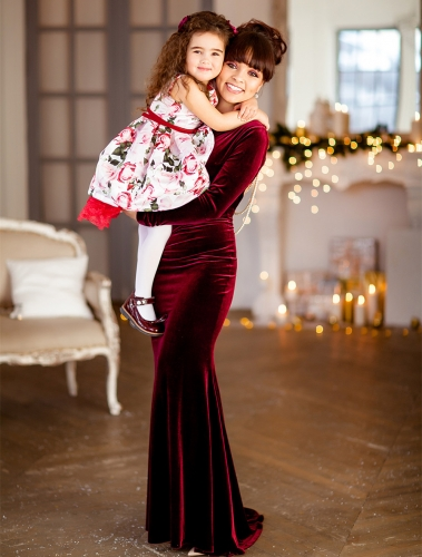 Burgunday Velvet Mother And Kids Dress Prom Dress