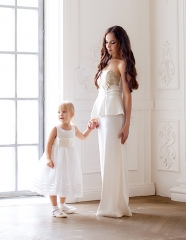 Ivory Mother And Kids Dress Prom Dress