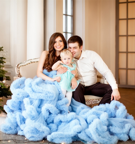 Blue Mother And Kids Dress Wedding Dress