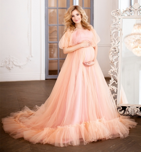 Peach Lace Tulle Maternity Sexy Prom Dress Pregnant Dress