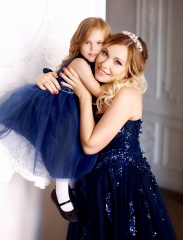 Navy Blue Mother And Kids Dress Prom Dress