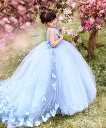 Blue Satin Tulle Flower Girl Dress Party Dress