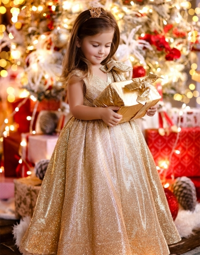 Gold Sequin Flower Girl Dress Party Dress
