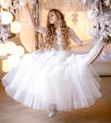 Ivory Lace Tulle Flower Girl Dress Party Dress