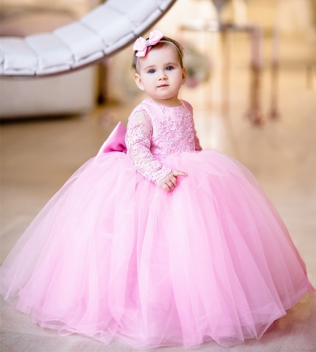Pink Lace Tulle Flower Girl Dress Party Dress