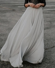 Grey Chiffon Maxi Skirt Short Train Chiffon Skirt