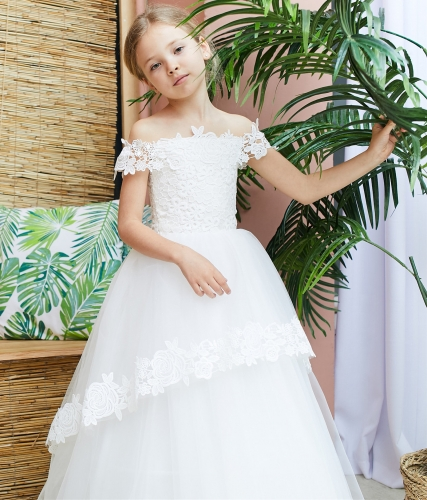 Ivory Lace Tulle Short Train Flower Girl Dress Party Dress