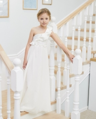 One Shoulder Ivory Satin Chiffon Full Length Flower Girl Dress Party Dress