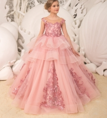 Mauve Lace Tulle Flower Girl Dress Party Dress