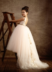 Light Champagne Tulle Fuffle Long Train Girls Pageant Dress