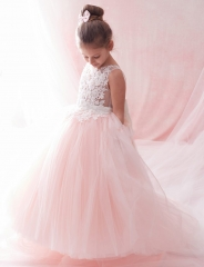 Blush Pink Lace Tulle Fuffle Girls Pageant Dress Girls Party Dress
