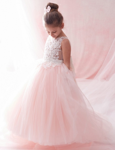 Blush Pink Lace Tulle Ruffle Girls Pageant Dress Girls Party Dress