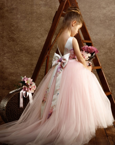 Light PInk Long Train Girls Pageant Dress Flower Girl Dress