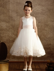 Ivory Tulle Tea Length Girls Pageant Dress Flower Girl Dress