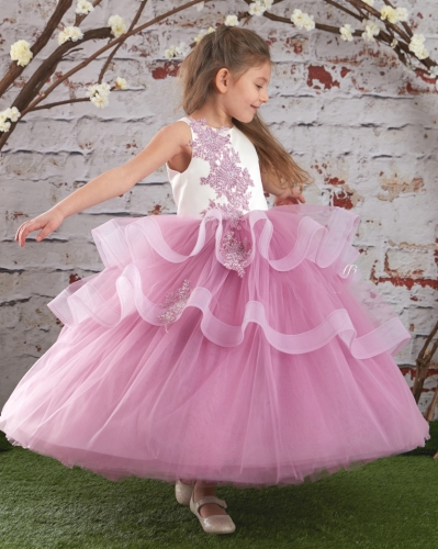 Mauve Lace Satin Tulle Fuffle Girls Pageant Dress Girls Party Dress