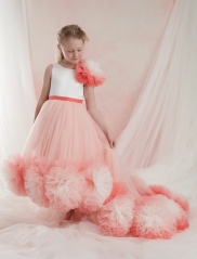 Pink Tulle Mixed Color Girls Pageant Dress Girls Party Dress