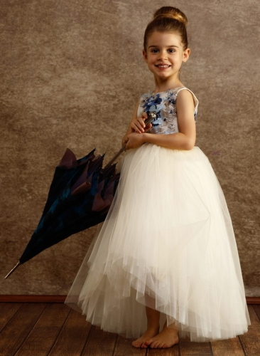 Ivory Tulle Fuffle Girls Pageant Dress Flower Girl Dress