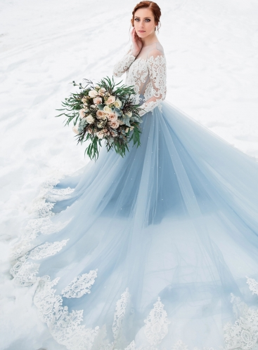 Grey Blue /Mauve Long Train Wedding Dress Bridal Gown