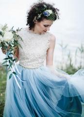 Grey Blue Ivory Lace Short Train Wedding Dress Bridal Gown