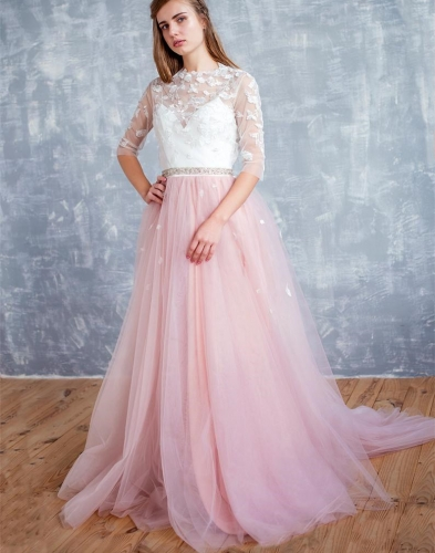 Ivory Lace Pink Tulle  Prom Dress Wedding Dress