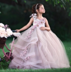 Mauve Lace Tulle Pageant Girls Party Dress Flower Girl Dress