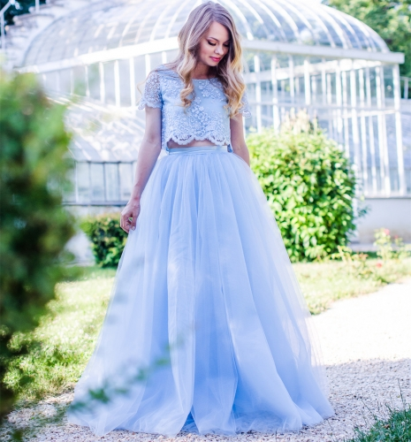 2 Pieces Blue Lace Tulle  Prom Dress Wedding Dress