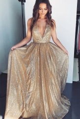 Gold Sequin Short Train Prom Dress