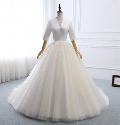 Ivory Satin Tulle Wedding Dress Bridal Gown