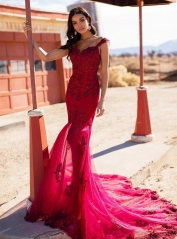 Red Lace Tulle Mermaid Short Train  Prom Dress