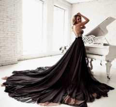 Black Lace Tulle Chiffon Long Train  Prom Dress Wedding Dress
