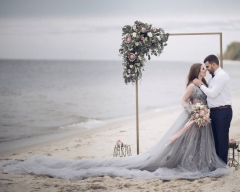 Grey Lace Tulle Long Train Skirt Wedding Dress