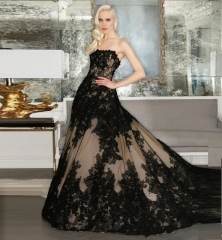 Black Lace Tulle Long Train Wedding Dress