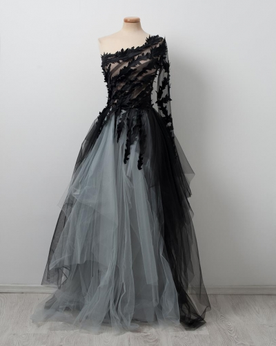 Black Wedding Dress Short Train Lace Tulle Prom Dress