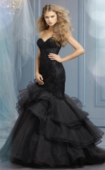 Mermaid Black Lace Tulle Short Train Wedding Dress