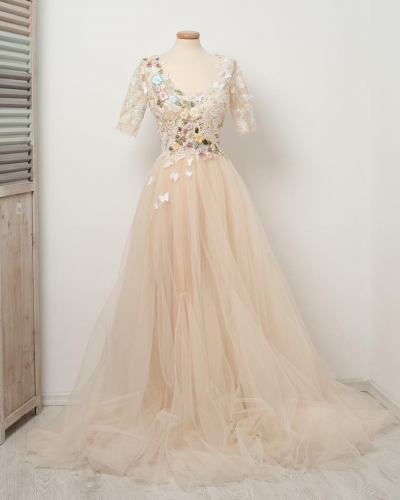 Light Champagne Lace Tulle Wedding Dress Bridal Gown