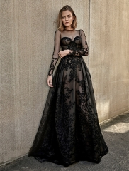 Black Lace Tulle Short Train Wedding Dress