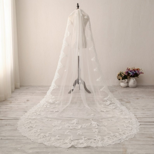 Classic Cathedral Wedding Veil Lace Bridal Veil