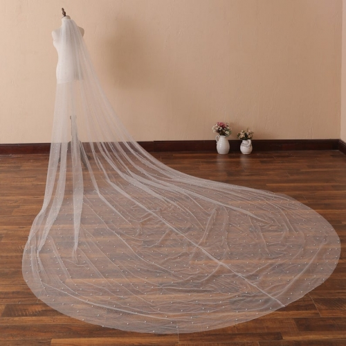 Pearls Scattered Cathedral Veil with Cut Edge Wedding Veil with Pearls