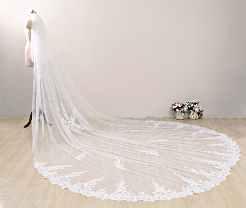 Ivory Floral Bridal Veil Long Lace Wedding Veil