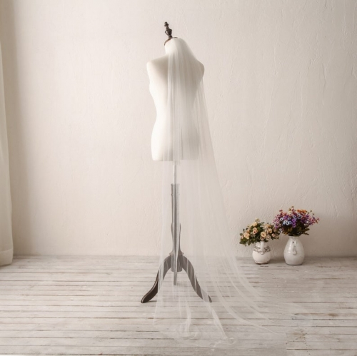 Ivory Wedding Veil Long Plain Edge Bridal Veil