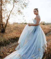 Dusty Blue Satin Tulle Long Train Wedding Skirt 2 Pieces Wedding Dress
