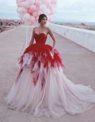 Ivory/Red Long Train Wedding Skirt 2 Pieces Wedding Gown