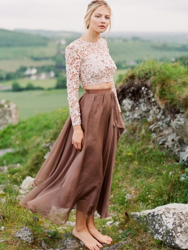 Brown/Coffee Chiffon Maxi Skirt Silk Chiffon Skirt