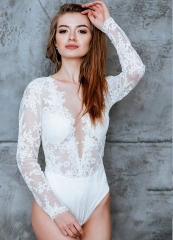 Ivory Lace Siamese Lace Wedding Top Women Siamese Top