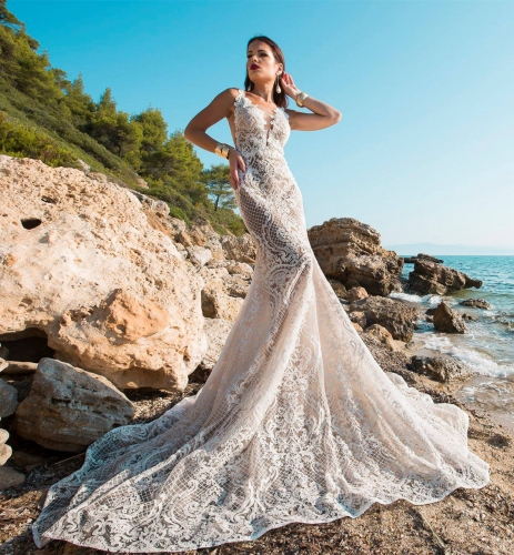 Lace Tulle Mermaid Wedding Dress Bridal Gown
